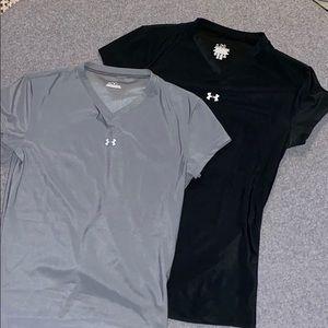 Under armour v neck shirts (2) black & grey